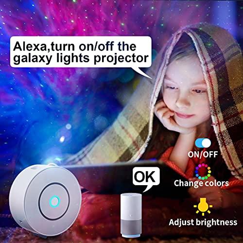 LED Alexa Lampada Proiettore Stelle Smart, Notturna Bambini Adulti Proiettore Soffitto, Regolazione 360° Rotazione RGB Led Galassia Proiettore Smart, conControllo vocale WiFi Timer