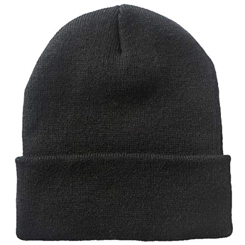 Telea Thick Winter Warm Cuffed Beanie with Soft Lining Adult Size for Men and Women Black