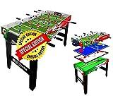 Sport One Tavolo Multigioco Super Italy - 4 Giochi in 1 - Calciobalilla 4 Vs 4 Aste Rientranti/Ping Pong/Tavolo da Biliardo & Speed Hockey - Cm. 121,90 X 60 X 81,5 - Special Edition
