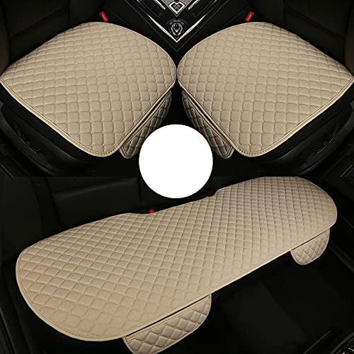 Alfombrilla antideslizante de 3 uds, cómodo y transpirable, protector de asiento de coche de tela de lino, alfombrilla universal, fundas de asiento