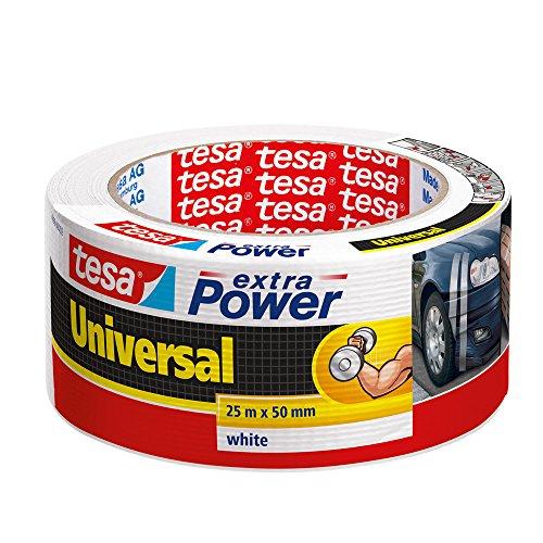 tesa extra Power Universal Gewebeband - Gewebeverstärktes Ductape zum Reparieren, Befestigen, Bündeln, Verstärken oder Abdichten - Weiß - 25 m x 50 mm