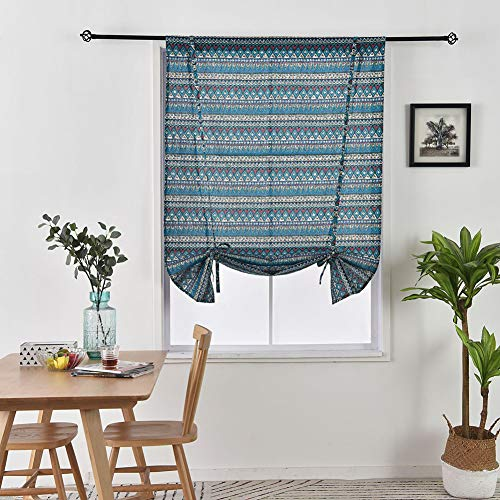 """EiiChuang Thermal Insulated Tie Up Curtains Roman Shades for Windows, Adjustable Window Shade, Rod Pocket Short Printed Ballon Window Shade for Bedroom Home Kitchen Office, 39"""" Wide by 47"""" Long, Blue"""