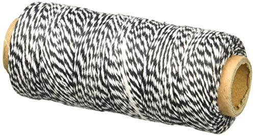 Hemptique 125 m/2 bobina de hilo de algodón cordón de pastelero de fuerza media, negro/blanco