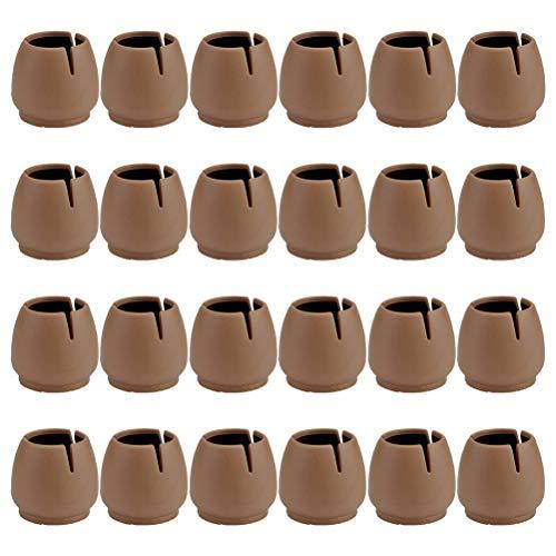 Chair Leg Floor Protectors for 37-42mm Round Chair Legs, Silicone Small Chair Leg Caps Best Chair Leg Tips, Coffee,16 Pack