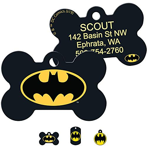 GoTags Superhero Batman Dog Tags for Pets, Personalized Engraved Dog ID Tags with up to 4 Lines of Custom Text