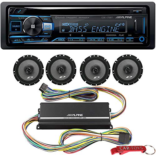 Alpine CDE-175BT Car Stereo Power Pack Bundle w/ KTP-455A Amp & 4X 6.5 Coaxial Speakers. 1-DIN Bluetooth Head Unit w/ Variable Color Display, USB, Aux, CD Player, Hands Free Calling, SiriusXM Ready