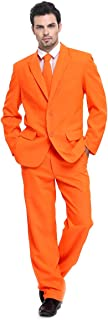 U LOOK UGLY TODAY Mens Party Suit Solid Color Jacket Costume Leisure Suit for Halloween Party with Tie & Pants