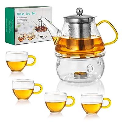Glass Teapot Set - Stovetop & Microwave Safe Glass Tea Kettle (20 OZ/0.6L) with 4 Glass Teacups & Stainless Steel Tea Infuser & Tea Warmer ,Blooming Tea and Loose Leaf Tea Maker (20 OZ)