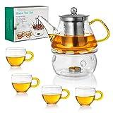 Glass Teapot Set - Stovetop & Microwave Safe Glass Tea Kettle (20 OZ/0.6L) with 4 Glass Teacups & Stainless Steel Tea Infuser & Tea Warmer ,Blooming Tea and Loose Leaf Tea Maker Set