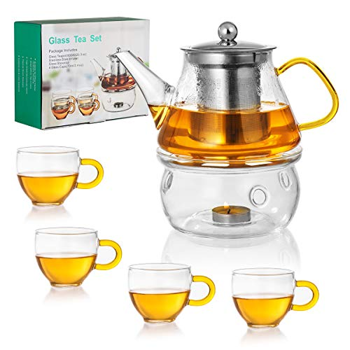 Glass Teapot Set with Warmer Pot Stovetop Safe Tea Set Stainless Steel Tea Infuser and 4 Teacups Blooming Loose Leaf Tea Pot for Home Office Travel Business (600ml)