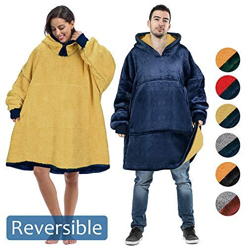 Tirrinia Oversized Blanket Sweatshirt Comfortable Sherpa Giant Hoodie Reversible