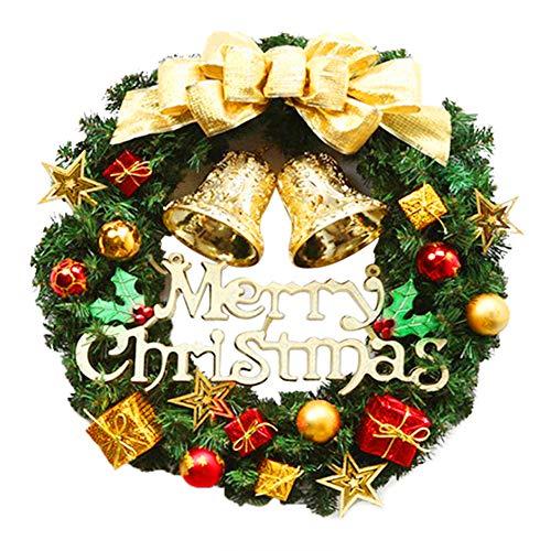 AROMUJOY Corona di Natale 30cm, Ghirlanda di Abete con Doppie Campane e Palline di Natale Dorate, Decorazione Natalizia per Matrimoni, Feste, Giardino, Negozi, Porte e Finestre