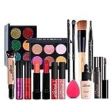 LEAMALLS 16 Piezas Estuches Juego de Maquillaje Completo Kit de Cosmético todo en uno Regalo Maquillaje Sombra de Ojos Paleta para Ojos Labios y Rostro Professional Makeup