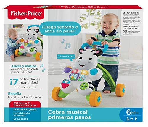 Fisher-Price - Cebra parlanchina primeros pasos - andador bebes - 6 meses - 3 años (Mattel DLD87), paquete estándar