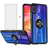 Phone Case for Xiaomi Redmi Note 7/7s/7Pro with Tempered Glass Screen Protector Clear Cover and Magnetic Stand Ring Holder Slim Hard Cell Accessories Xiami Xiomis Xiome Redme Note7 Pro Cases Men Black