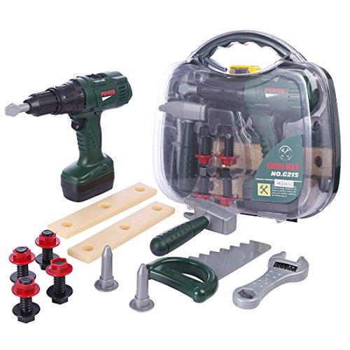 Oeasy Werkzeugkoffer Kinder, 12 Stücke Rollenspiel Werkzeugkasten Werkzeug Spielzeug Spielwerkzeugen Lernspielzeug für Kinder Kleinkind Jungen Mädchen 3 Jahre alt +