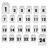 TopTie Number 1 to 24 Basketball Scrimmage Team Jerseys Nylon Mesh Lightweight Soccer Training Vests