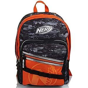 5127JloPmuL. SS300  - Seven Mochila doble compartimento, Nerf Nation única, negro y naranja, escuela y tiempo libre