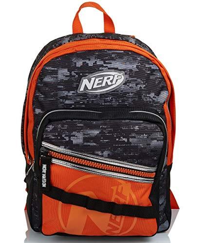 Seven Mochila doble compartimento, Nerf Nation única, negro y naranja, escuela y tiempo libre