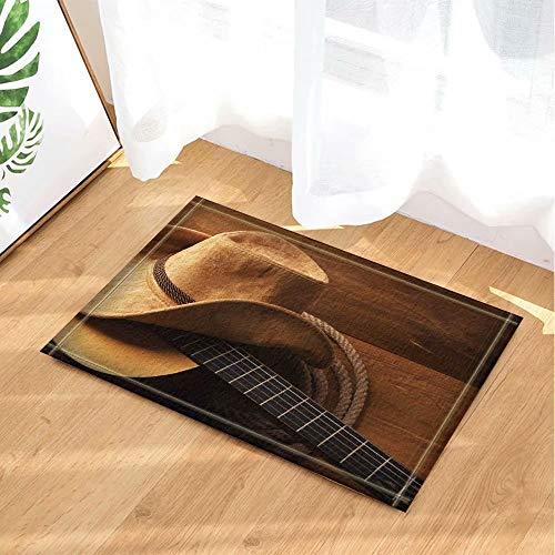 Western versierde Amerikaanse countrymuziek gitaar cowboyhoed Kinderbadkamer tapijt toiletdeur mat woonkamer 40X60CM badkameraccessoires