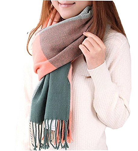 Kfnire Bufanda Mujer invierno lana caliente Mantas Cozy Pashmina bufanda larga tartán...