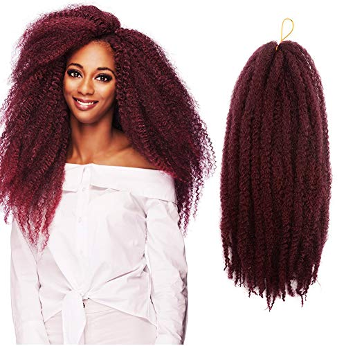 6 Pack Soft Hair For Twist Soft Braiding Crochet Hair Long Afro Kinky Twist Crochet Braid Kanekalon Synthetic Hair Extensions (16Inch-6PCS, Tbug)