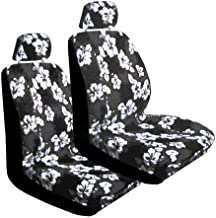 Set of 2 Universal Fit Hawaiian Low Back Front Bucket Seat Cover With Separate Headrest Cover for Seats - Charcoal Hawaii Hibiscus Floral Print