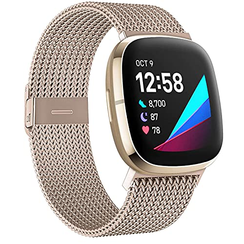 DEDIMENS - Correa de metal para Fitbit Versa 3 / Fitbit Sense, acero inoxidable 316L, repuesto de malla para Fitbit Versa 3 / Fitbit Sense, color negro,