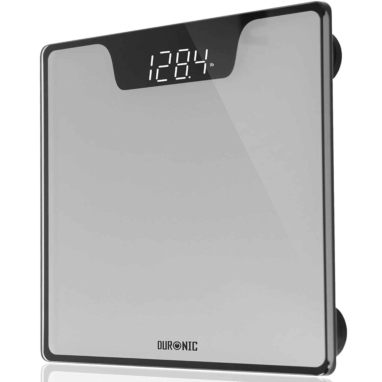 Duronic BS303 Báscula de baño Digital - Capacidad máxima de 180kg – Pantalla LCD Negra fácil de Leer- Diseño de Vidrio Color Plata y Negro - Enciende al subirse - Peso Corporal en kg, LB