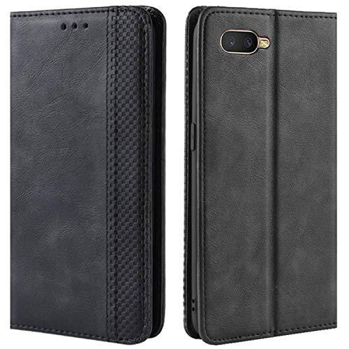 HualuBro Handyhülle für Oppo K1 / Oppo RX17 Neo/Oppo R15X Hülle, Retro Leder Brieftasche Tasche Schutzhülle Handytasche LederHülle Flip Case Cover - Schwarz