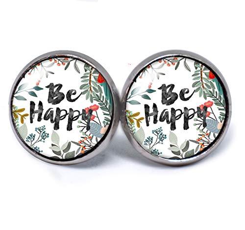 JUANLOWE Pendientes con frases'Be happy', multicolor, pendientes de acero inoxidable con texto en alemán'Glück, Sei glücklich-Text'