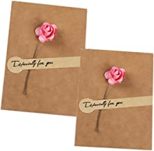Greeting Cards for All Occasion with Rose Flowers, Happy Birthday, Thank You, Wedding, Thanksgiving, Christmas, Blank Designs Cards Envelopes Included, 2PCS