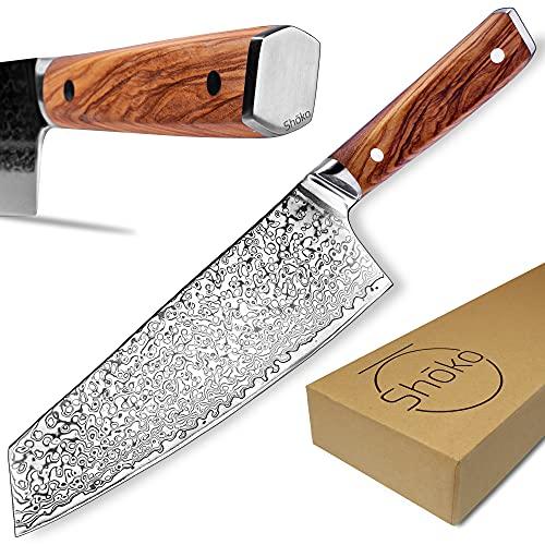 Shoko® Damastmesser Kiritsuke I Persönliche Gravur möglich I Japanisches Kochmesser - Scharfe 2mm Klinge I Damast-Küchenmesser mit patentiertem Olivenholz-Griff für ermüdungsfreies Schneiden