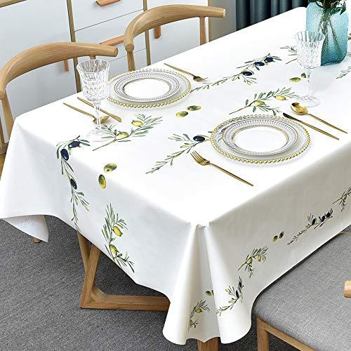 Plenmor PVC Tischdecke Plastik Quadrat für Küche Esstisch Kunststoff Wischtuchreinigung Tischdecke für Indoor Outdoor (137 x 137 cm, Oliven)