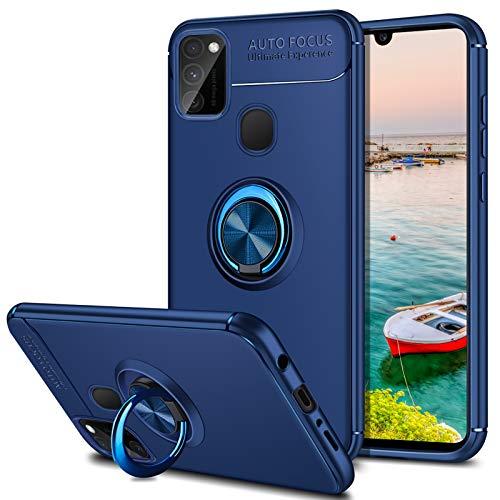 Coolden für Samsung Galaxy M30s/M21 Hülle,Premium Ultra Dünn Handyhülle 360 Grad drehbarer Ring Halter Ständer Weich TPU Bumper Outdoor Stoßfest Schutzhülle für Samsung M30s/M21 Blau