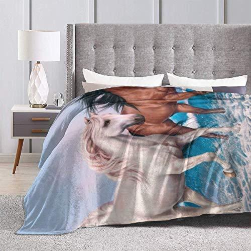 Yaxinduobao White Horse Print Fleece Manta Winter Throw Warm Fluffy Plush Mantas for Bed Couch Chair Living Room Underwater Sea Sheep 80'x60'
