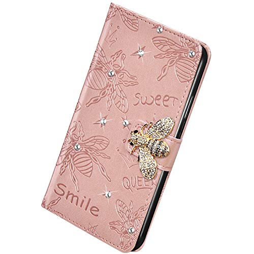 Herbests Kompatibel mit Huawei Mate 30 Pro Hülle Strass Diamant Glänzend Bling Glitzer Biene Blumen Muster Schutzhülle Klapphülle Leder Hülle Wallet Tasche Handyhülle Kartenfach,Rose Gold