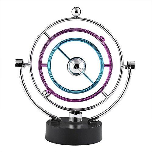 orologio cinetico Zerodis Swing Ball Elettronico Scrivania Moto Perpetuo Giocattolo di Scienze Fisiche Cinetico Art Globe Newton Pendulum Balls per Ufficio Casa Ornamenti