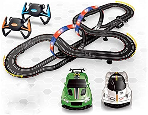 SLONG Electric Racing Track Toy 1 43 Track Racing Double DIY Game Track Handle Acceleration