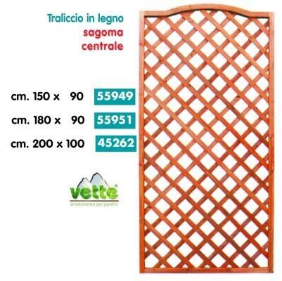 TRALICCIO IN LEGNO RETTANGOLARE SAGOMA CENTRALE cm.90x150h COLORE CILIEGIO 4 PEZZI