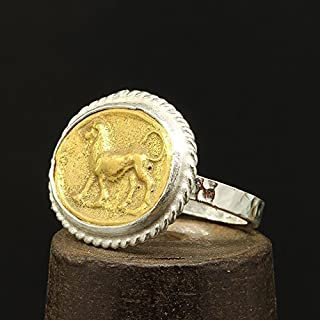 Lion Ancient Roman Art Coin Ring 925 Sterling Silver 24K Yellow Gold Vermeil Two Tone Handcrafted Hammered Artisan Signet Greek Coin Ring