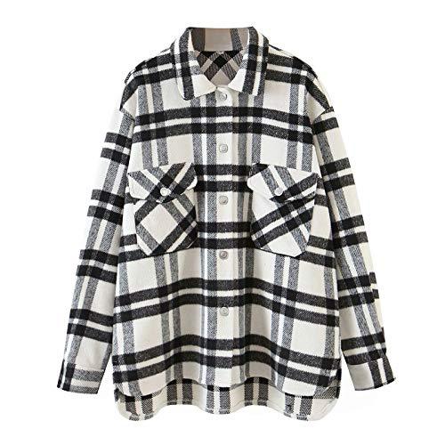 Womens Plaid Jacket Long Sleeve Lapel Button-Down Shirts Wool Blend Shacket Coat Casual Tops Outwear with Pocket