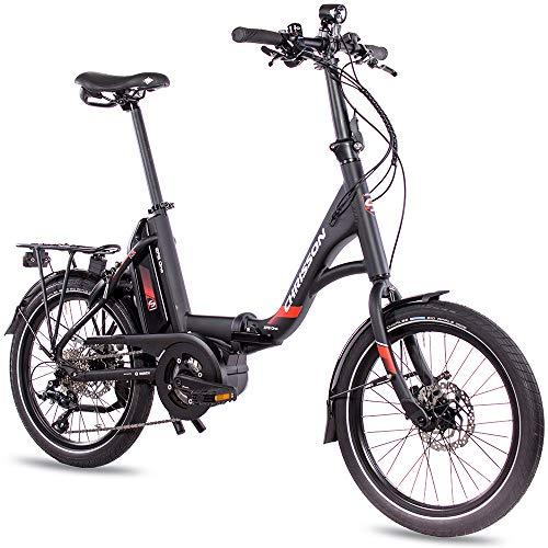 CHRISSON 20 Zoll E-Bike Klapprad EFB schwarz - E-Faltrad mit Active Line Mittelmotor 250 W 40 Nm und 9 Gang Shimano Sora Schaltung - Pedelec Faltrad für Damen und Herren, praktisches Elektro Klapprad