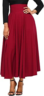 FIYOTE Women High Waist Front Slit Belted Casual A-Line Pleated Midi Skirt Dresses S-XXL