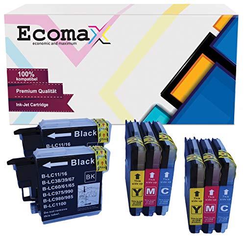 8 Ecomax Tintenpatronen kompatibel zu Brother LC-1100 LC-980 Multipack für Brother DCP-145C 165C 195C 185C MFC-250C 290C MFC-490CW 5490CN MFC-5890CN MFC-6490CW
