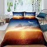 Loussiesd Ocean Duver - Juego de funda de edredón para niños, diseño de luna en el cielo y nubes de ensueño, diseño de estrellas tranquilas de paisaje marino, color naranja y azul