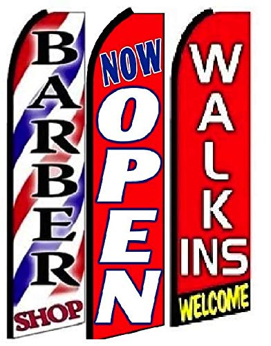 Barber Shop, Now Open,Welcome Walk in King Swooper Feather Flag Sign- Pack of 3 (Hardware Not Included)