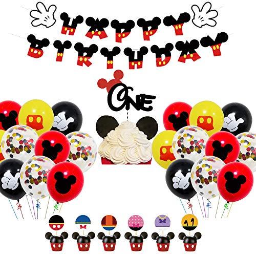 Decoraciones de cumpleaños de Mickey Mouse - WENTS Artículos de Fiesta de Mickey y Minnie Banner de Feliz cumpleaños Globos de Lunares para Decoraciones de Fiesta temáticas de Minnie