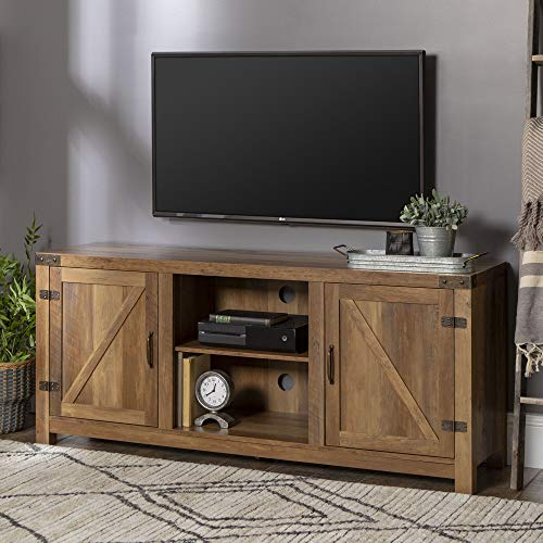 "Walker Edison Furniture Company Farmhouse Barn Wood Universal Stand for TV's up to 64"" Flat Screen Living Room Storage Cabinet Doors and Shelves Entertainment Center, 58 Inch, Reclaimed Barnwood Brown"