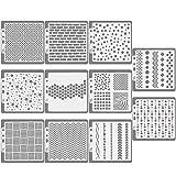 CODIRATO 11 PCS Plantilla para Diario Diseño Geométrico, Plástico Dibujo Pintura Reutilizables Plantillas DIY para Álbum de Recortes, Diario, Escritura, Creaciones Artesanales (14 * 13 cm)